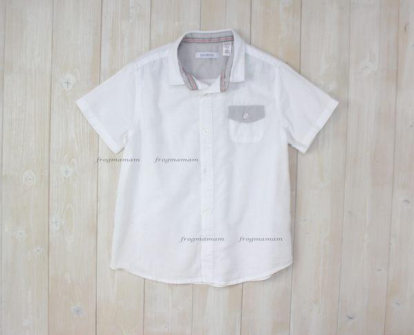 法國時尚設計感白色短袖襯衫4A~14A