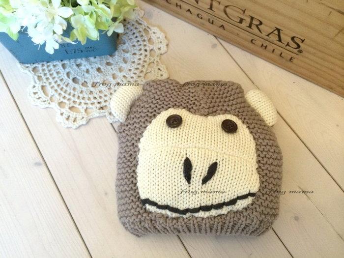 ☆青蛙媽媽☆GAP小猴針織帽、動物帽46cm~50cm