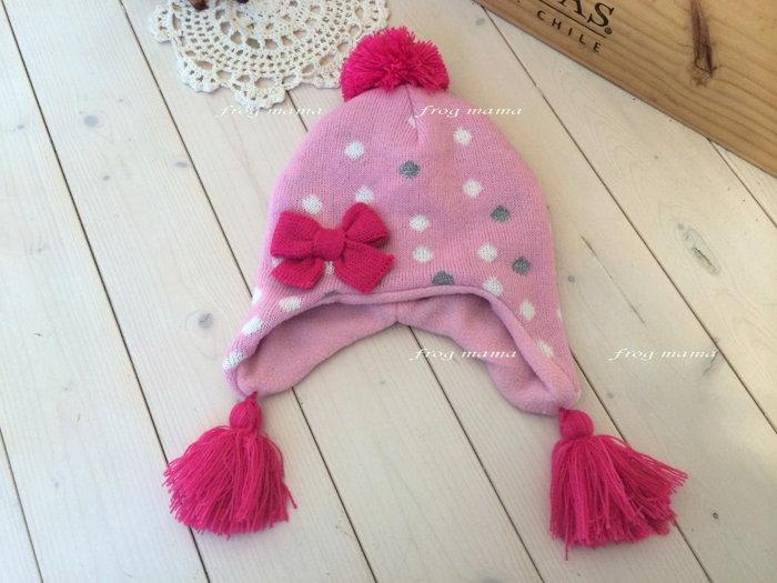 ☆青蛙媽媽☆點點粉色刷毛遮耳帽50/52~54