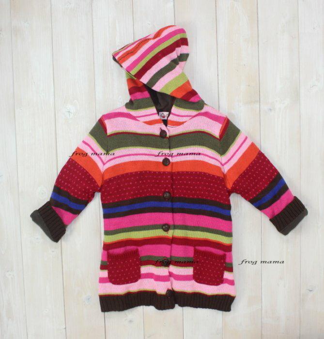 ☆青蛙媽媽☆CHIKI條紋針織刷毛連帽外套 3T