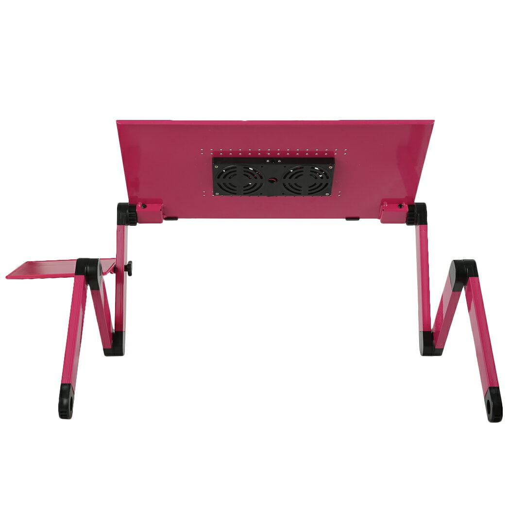 Foldable Aluminium Dual Cooler Fans Laptop Table Portable Notebook PC Desk Book Stand Holder 2