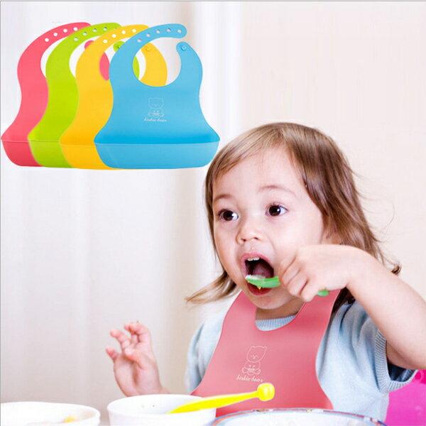 BO雜貨【SV9619】可調矽膠防水圍兜寶寶矽膠圍兜嬰兒防水立體圍兜口袋圍兜吃飯圍兜嬰幼兒用品可清洗重複使用