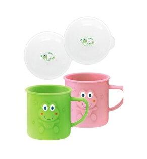 DOOBY大眼蛙耐溫喝水杯+保潔蓋240cc(綠粉)兩色D-4312