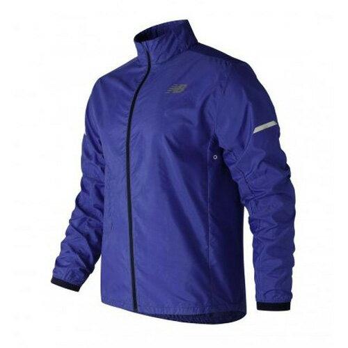 New Balance 男装 外套 慢跑 风衣 轻量 防泼水 360度反光直条 可收纳式于口袋 蓝【运动世界】AMJ81242PC