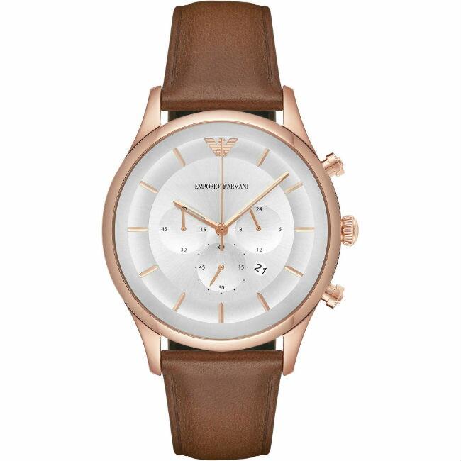 EMPORIO ARMANI 亞曼尼 AR11043玫瑰金簡約時尚計時腕錶/白面43mm