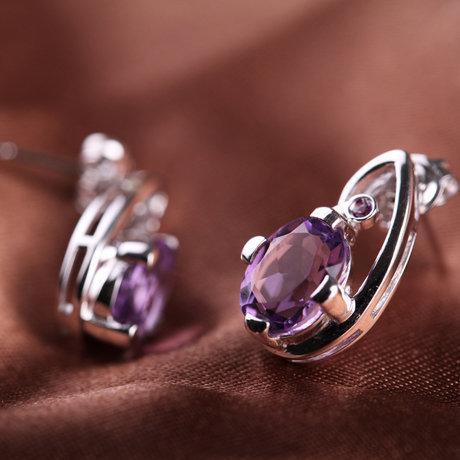 璀璨清揚時尚耳飾銀鑲嵌紫水晶耳釘女款飾品