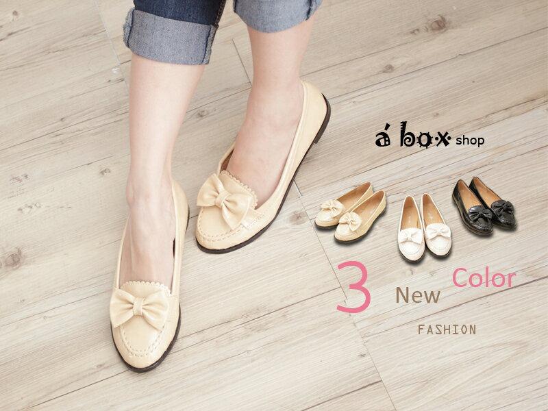 格子舖*【KA0621-11】韓風時尚 高品質皮面蝴蝶結平底 休閒鞋 包鞋 三色 0