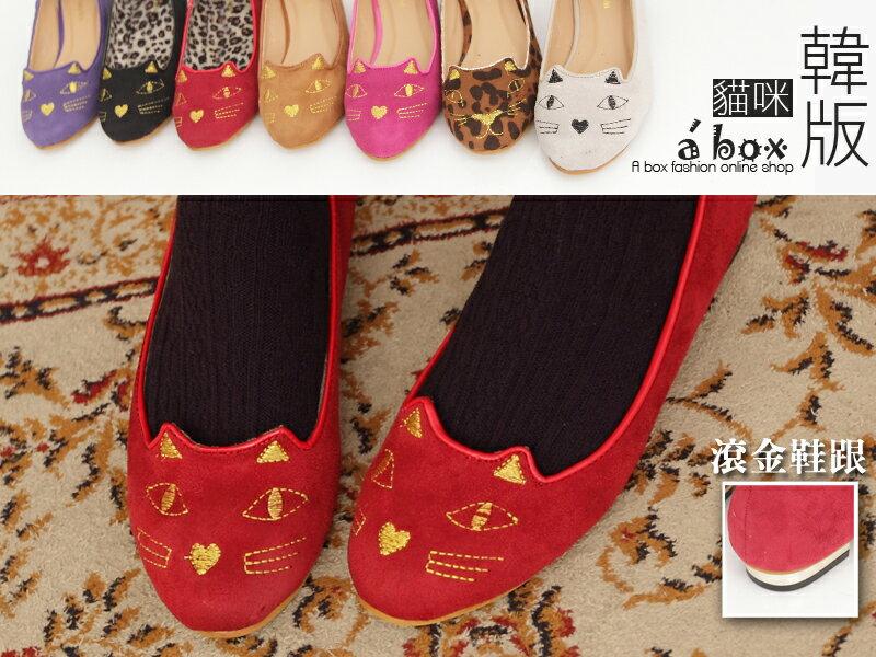 格子舖*【KM200-37】超級可愛貓咪臉立體耳朵娃娃鞋貓咪鞋 貓臉鞋 七色現貨