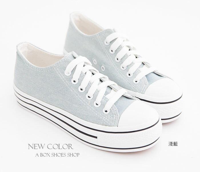 格子舖*【KA2033】日韓系心機款高品質素面增高3.5CM厚底帆布鞋四色 1