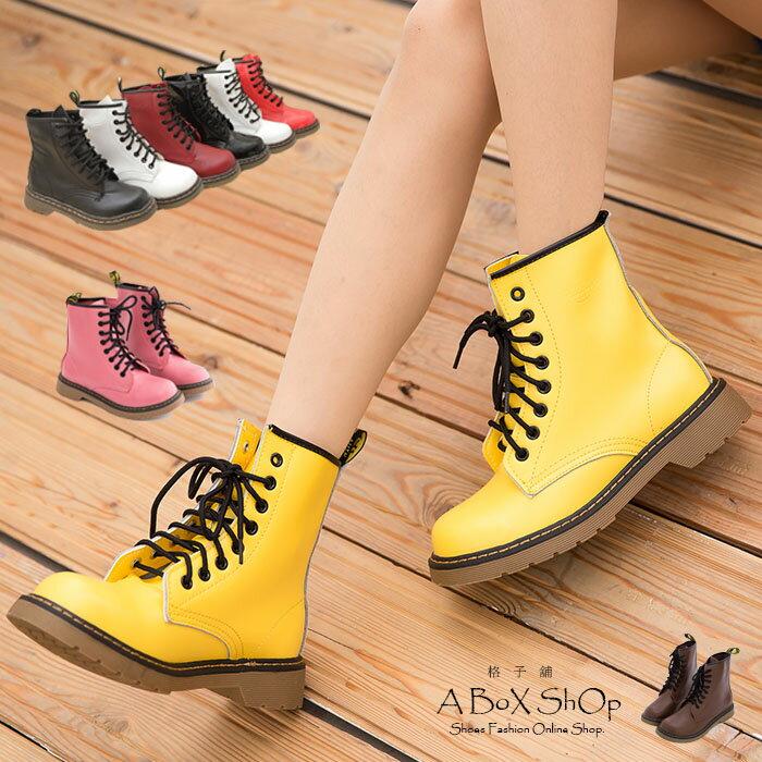 格子舖*【AA601-1】艾薇兒ViVi雜誌款.日系8孔真皮馬汀靴 馬丁鞋 短靴 六色 0