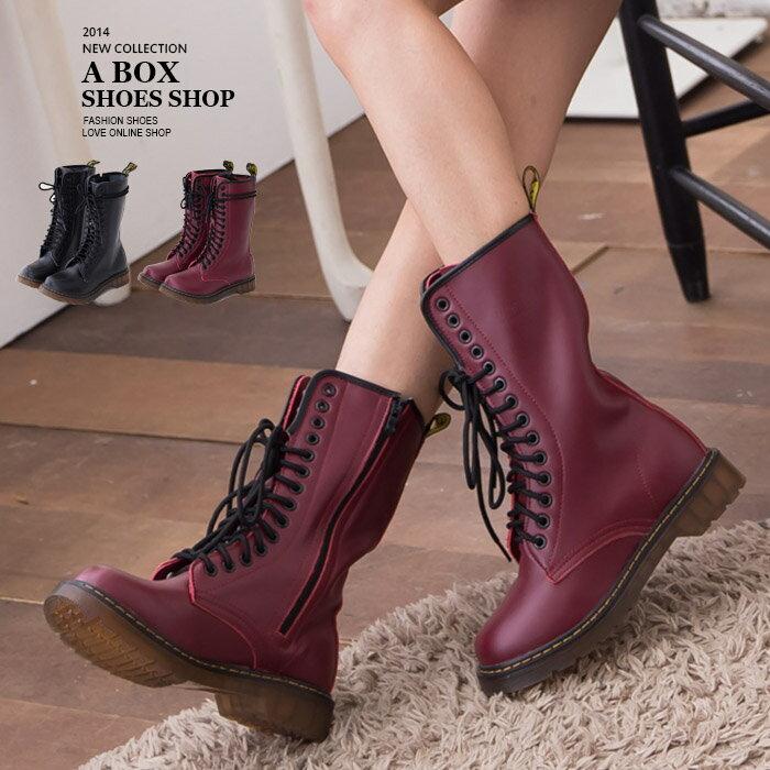 格子舖*【AM601G】艾薇兒ViVi雜誌款 超耐磨牛津透明底14孔真皮馬汀靴馬丁鞋 情侶鞋 2色