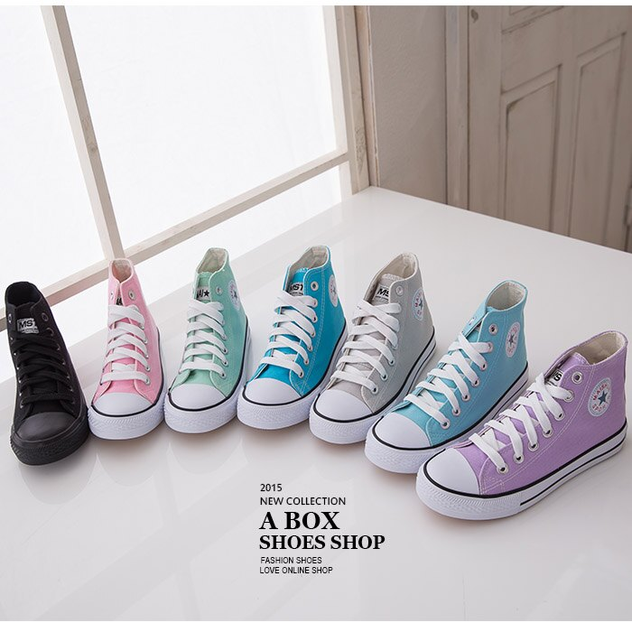 格子舖*【KF007】基本百搭款STAR星星 繽紛粉嫩色 繫帶高筒帆布鞋 休閒鞋 7色 - 限時優惠好康折扣