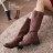 格子舖*【KH528-1】韓版素面皮革側拉環拉鍊式防滑膠底長筒工程靴機車靴 2色 - 限時優惠好康折扣