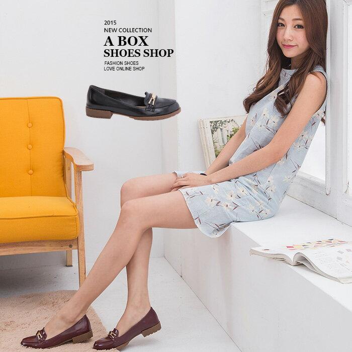 格子舖*【KI619】MIT台灣製 英倫風中性質感亮皮金屬 防滑粗低跟紳士靴牛津鞋包鞋 2色 - 限時優惠好康折扣
