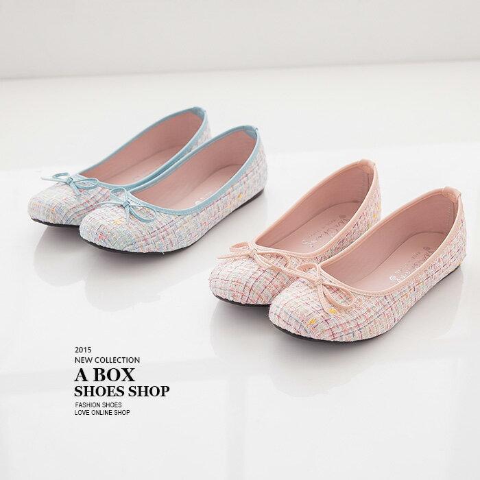 格子舖*【AI7836】MIT台灣製 超值特價蝴蝶結小香風混色毛呢 平底包鞋 娃娃鞋 3色 1