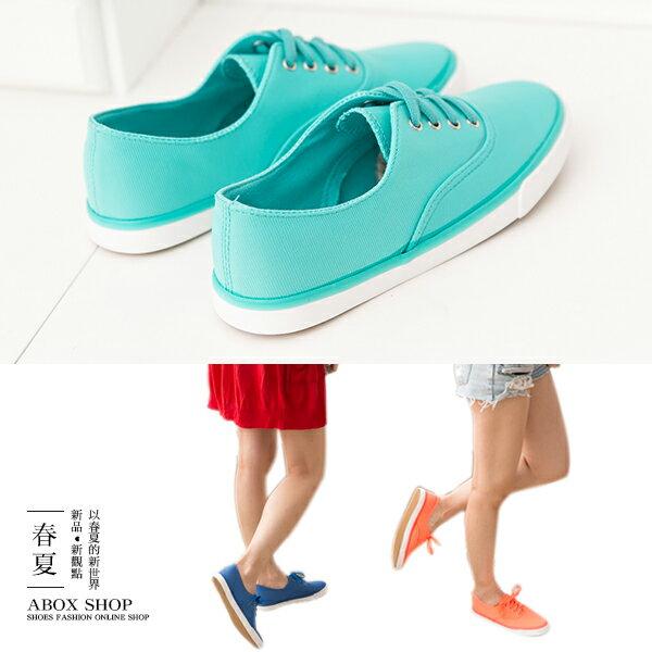 格子舖*【KA-10】韓國運動風 簡約素面 春夏氣息亮色系 綁帶休閒帆布鞋 懶人鞋 3色