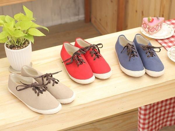 格子舖*【KA338-25】棉麻圍編素面綁帶帆布鞋平底包鞋 三色