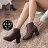 格子舖*【KM062-6G】加大大尺碼 41-43 歐美英倫時尚牛津雕花素面皮革短筒粗跟靴子馬丁靴 2色 - 限時優惠好康折扣