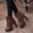 格子舖*【KM808】嚴選熱賣歐美性感時尚 繫帶雙扣環鉚釘皮革圓頭防水台細高跟靴子 2色 - 限時優惠好康折扣
