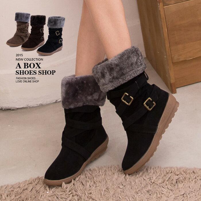 格子舖*【KS1301】嚴選寒冬絨毛溫暖內裡  兩穿式金屬雙鈕扣拉環中筒短靴雪地靴 3色 1