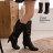 格子舖*【KS5131】嚴選雜誌 時尚金屬吊飾內拉鍊高質感高跟馬汀長靴 機車靴 2色 - 限時優惠好康折扣