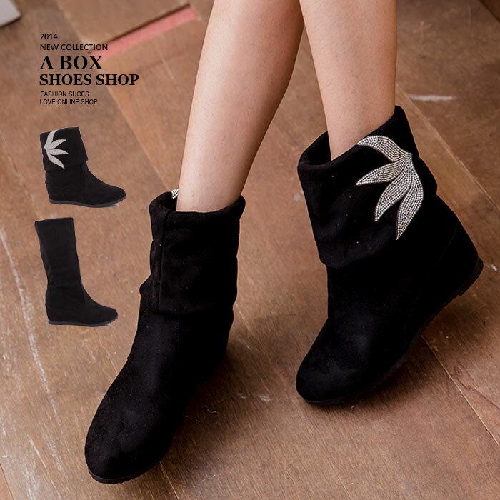 格子舖*【KNS7188】水鑽樹葉裝飾設計 可反摺兩穿6.5CM楔型增高麂皮長筒靴 黑色 - 限時優惠好康折扣