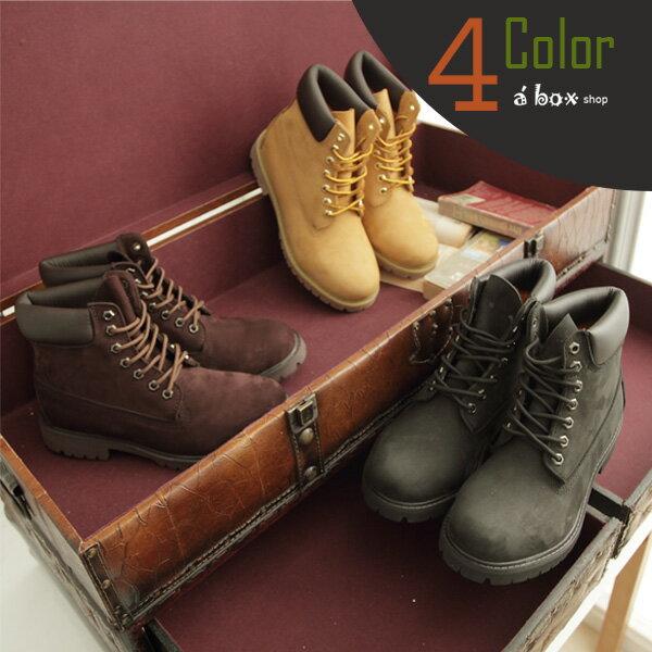 格子舖*【KV098】Timberland同鞋廠‧全牛皮製‧頂級磨砂皮經典工作靴 圓頭靴 黃金靴 情侶鞋 四色
