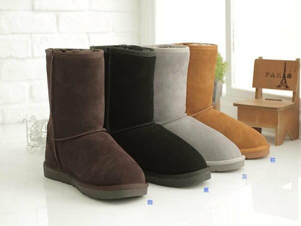 格子舖*【KV5825】UGG同鞋廠‧寒冬超人氣熱賣暖暖牛皮羊毛中筒真皮雪靴雪地靴 2