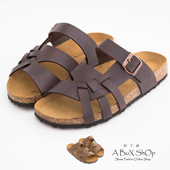 格子舖*【AW8492】就愛MIT台灣製高質感基本款皮革男款羅馬風 拖鞋 兩色 - 限時優惠好康折扣