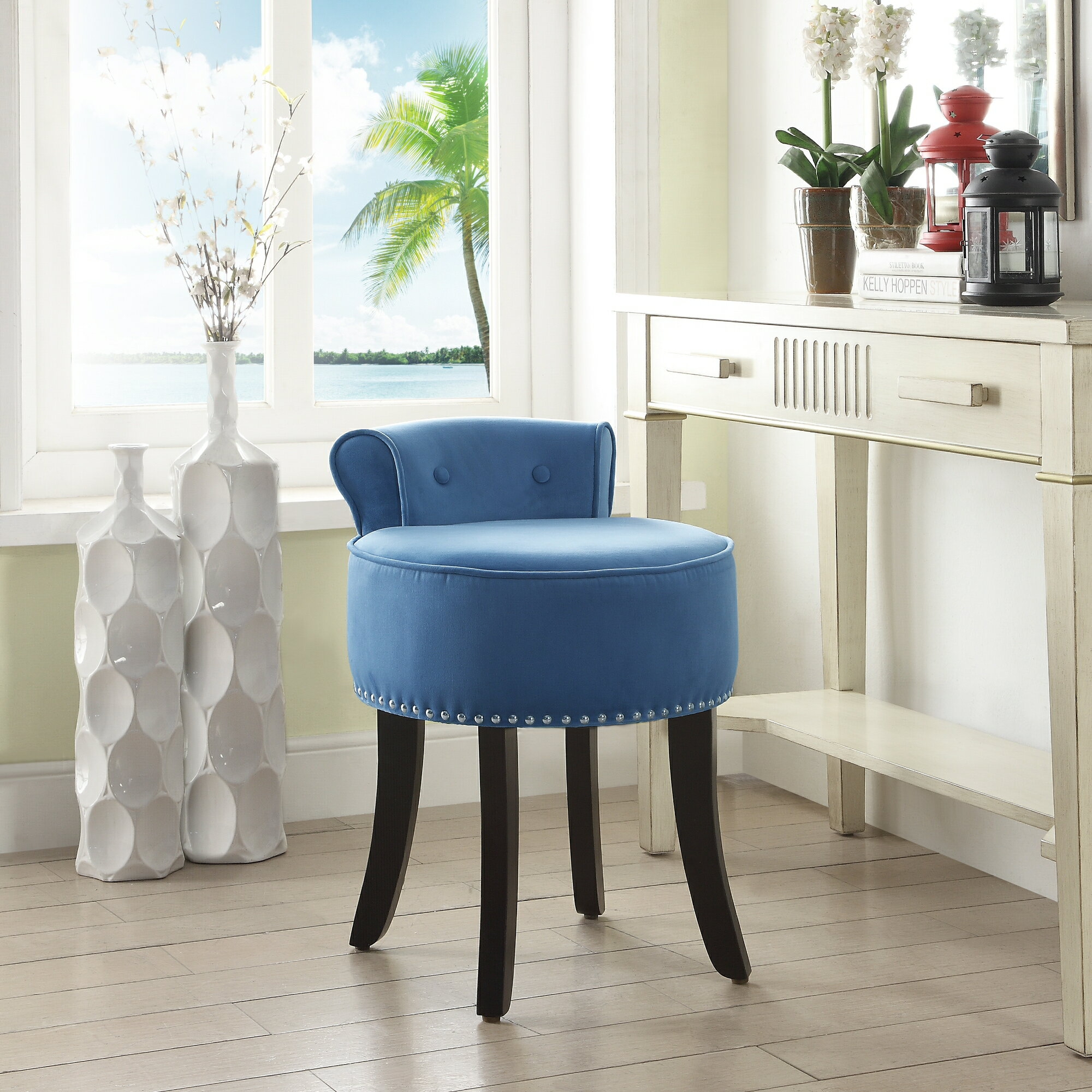 Astonishing Ingrid Velvet Vanity Stool Nailhead Trim Roll Back Button Tufted Bedroom Inspired Home Bralicious Painted Fabric Chair Ideas Braliciousco