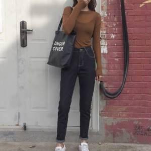 美麗大街【K520】 2017春季新品 韓國高腰顯瘦明線小腳牛仔褲女
