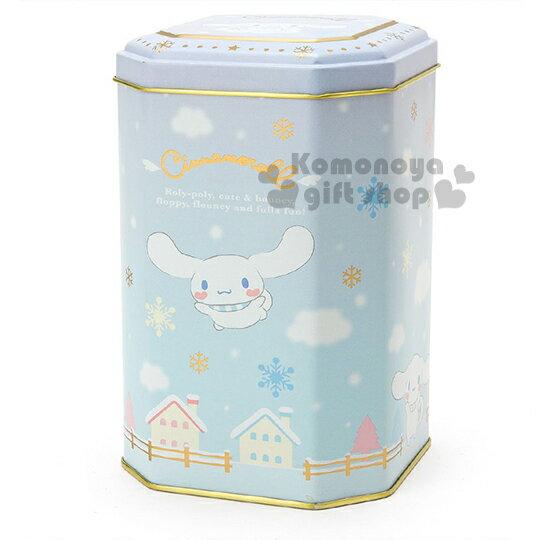 〔小禮堂〕大耳狗 日製八角形收納鐵罐《藍.飛姿.房子.雪花》冬日聖誕限定系列