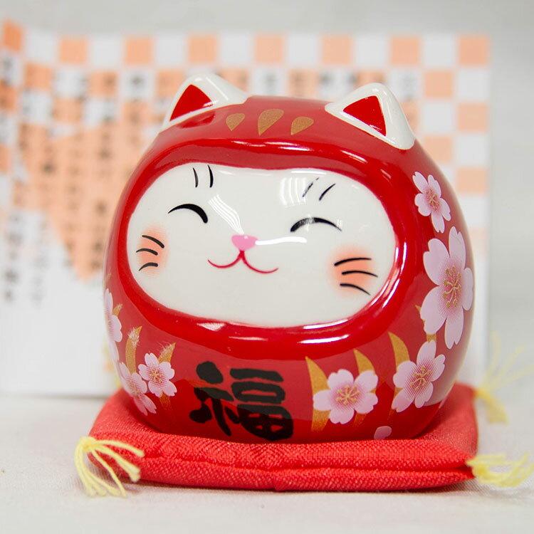 開運貓不倒翁 櫻赤福 藥師窯日本正版 吉祥物