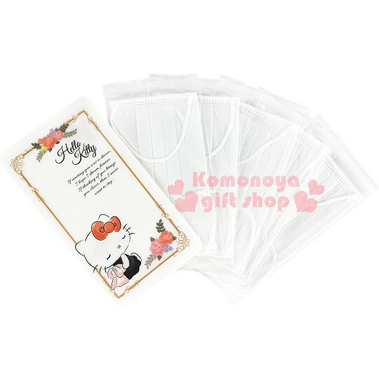 〔小禮堂〕Hello Kitty 日製口罩收納夾《白.咖啡框.彩色花朵》附5個立體口罩