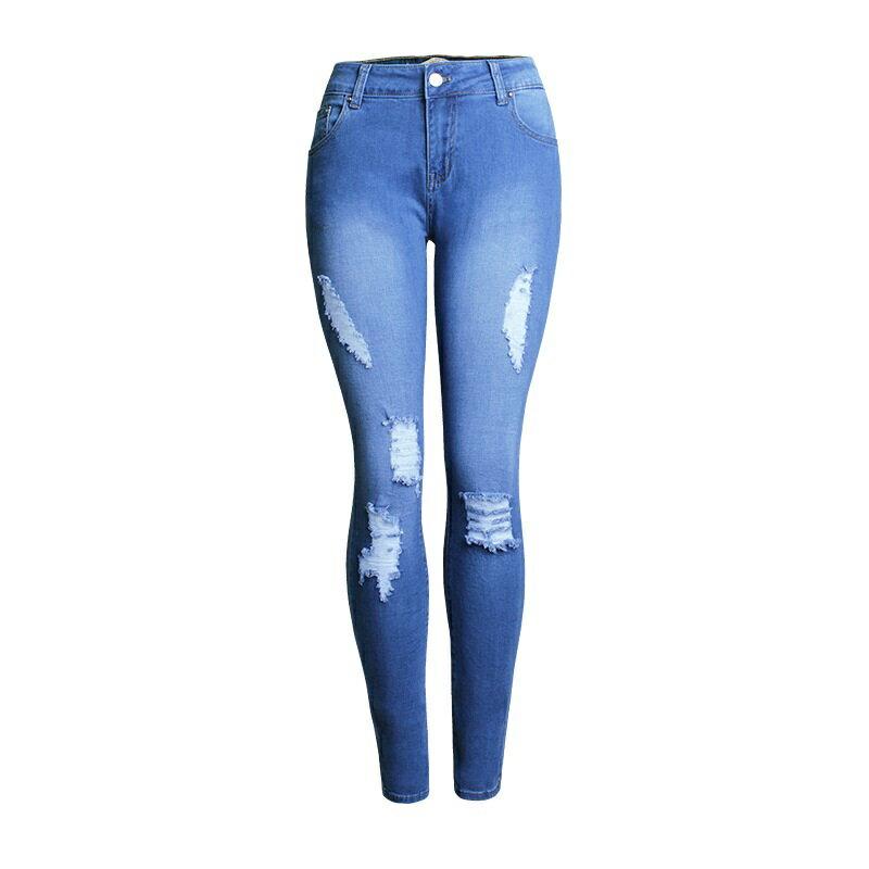 牛仔褲丹寧小腳褲-破洞藍色修身彈力女長褲73wx23【獨家進口】【米蘭精品】 0