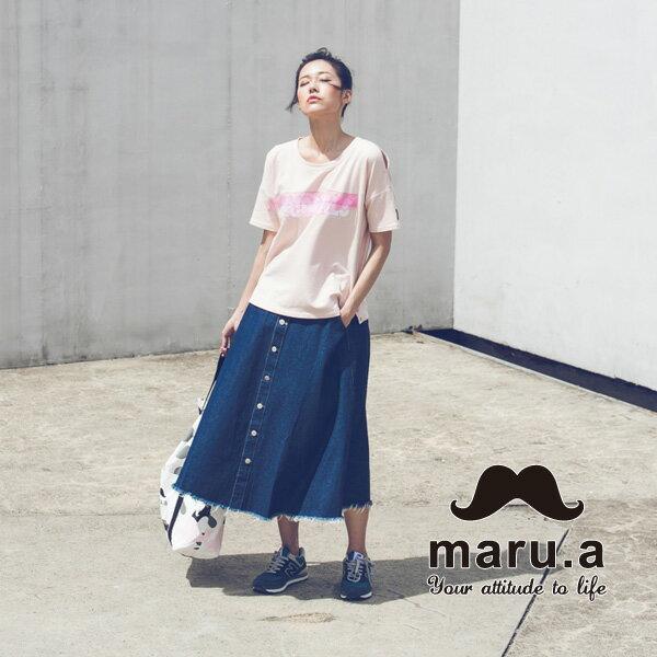 【maru.a】ORIGINALS文字印花特色絲帶T-sirt(4色)7911226 8