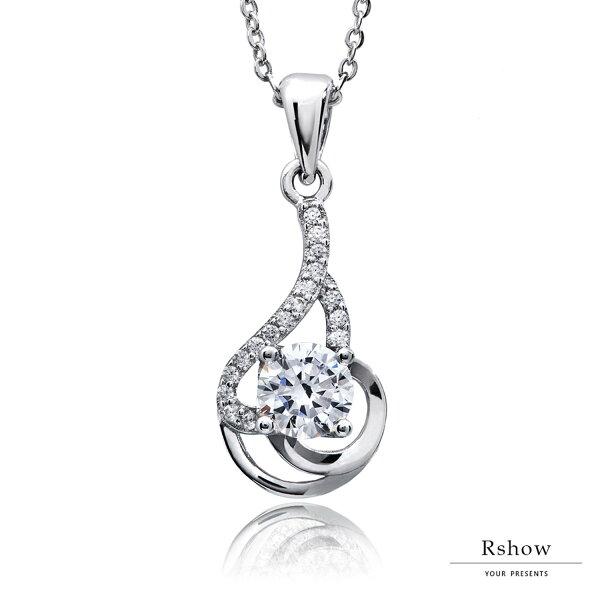 【RSHOW瑞秀】Bonjour法式浪漫曲線晶鑽項鍊★S925純銀飾品