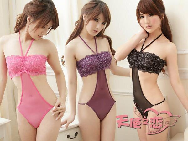 天使甜心~ AD306 粉 紫 黑 粉嫩魅力 柔紗性感連身睡衣 情趣內衣