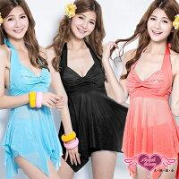 泡湯推薦到天使甜心 QD8528黑/藍/粉桔 亮片二件式泳衣泳裝比基尼 溫泉SPA泡湯