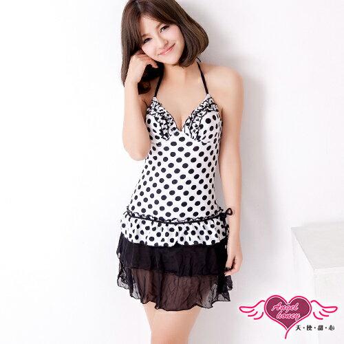天使甜心 R2131黑白 M^~XL 白底滿點蕾絲連身泳裝 泳衣 比基尼 溫泉泡湯