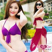 泡湯推薦到天使甜心 SQ88117紫/紅 素面鋼圈三件式比基尼泳裝 泳衣 泡湯SPA