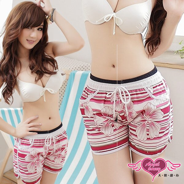 天使甜心 YK1063白紅 Shiny Girl 女海灘褲 情侶裝 短褲 泳衣 比基尼 泳裝