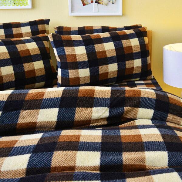 Pure One:PureOne超保暖搖粒絨-簡約格紋-咖啡@加大四件式床包被套組@台灣製@SGS檢驗合格