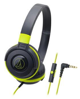 audio-technica 鐵三角 ATH-S100iS 智慧型手機用DJ風格可折疊式頭戴耳機【黑綠色】