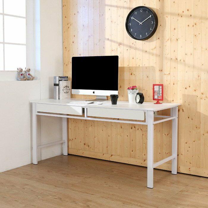 160超穩固防潑水用電腦桌(附兩抽屜)工作桌 書桌 辦公桌~兩色~【馥葉】【型號DE1662-2DR】