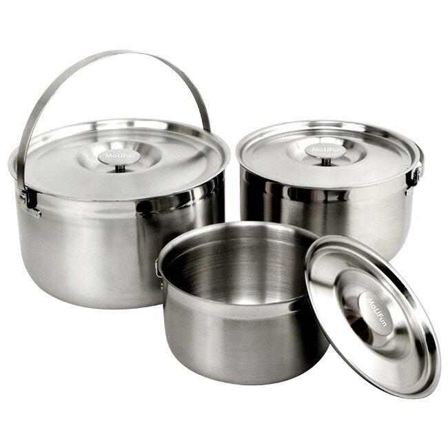 MoLiFun魔力坊 台灣製316不鏽鋼內鍋 / 調理鍋 / 三件式提鍋(16+19+22CM)~適用電磁爐(MF0418) - 限時優惠好康折扣