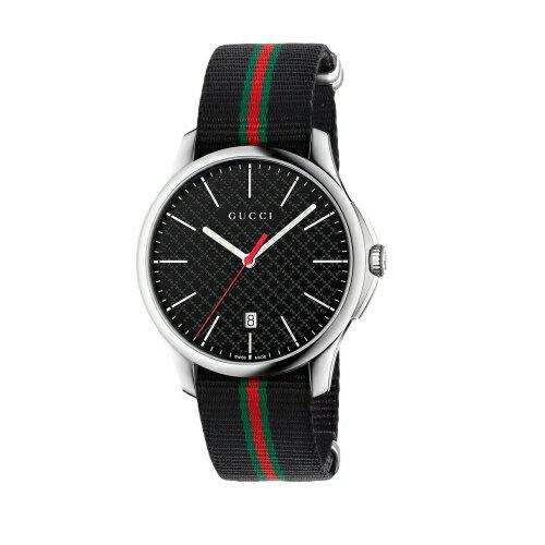GUCCI G-TIMELESS石英帥氣纖薄腕錶/黑色/YA126321