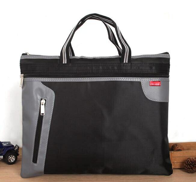 個性男士手提文件袋商務 A4帆布公文包 男女士辦公會議袋 拉鏈袋多層牛津布包 休閒男士公文包