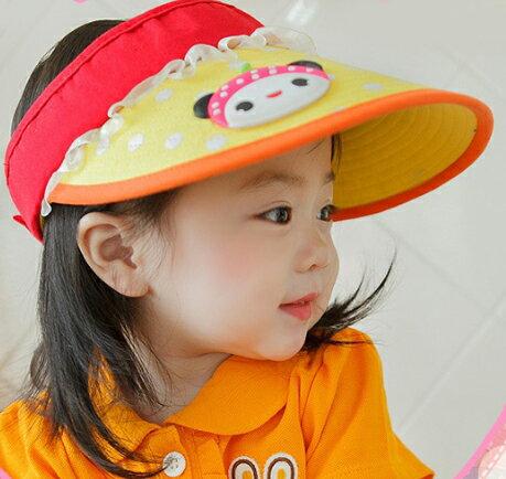 Lemonkid◆正韓超萌可愛娃娃臉點點蕾絲蝴蝶結緞帶兒童帽空頂遮陽帽~黃色帽檐