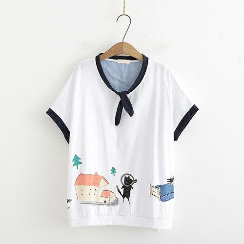 *ORead*日系森女貓咪印花寬鬆短袖T恤(2色F碼) 0